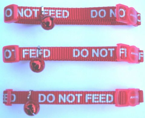 BULK DEAL 3 X DO NOT FEED REFLECTIVE ANCOL SAFETY CAT COLLARS RED